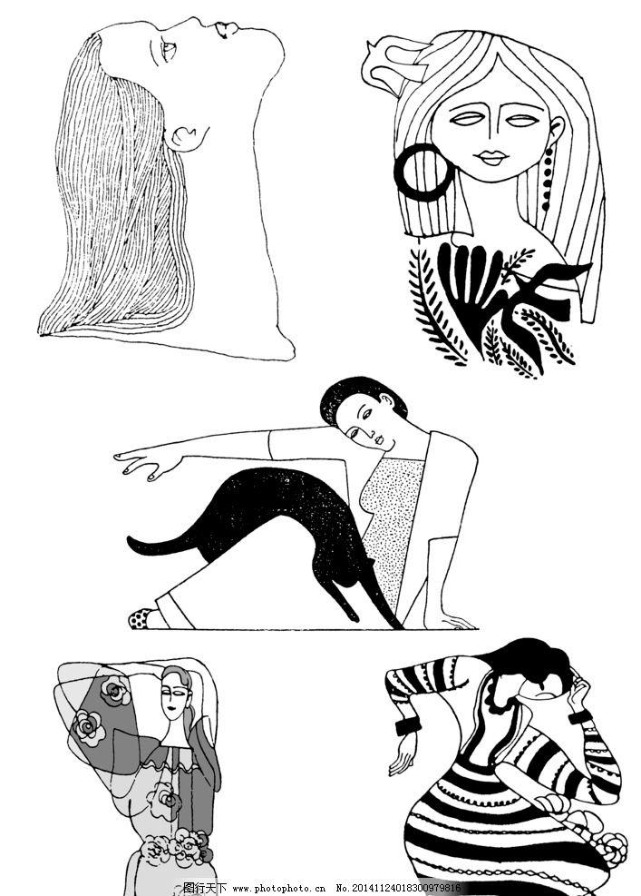 手绘黑白插图 美女 女士 黑猫 手绘插图 插画 人物插图 儿童插图