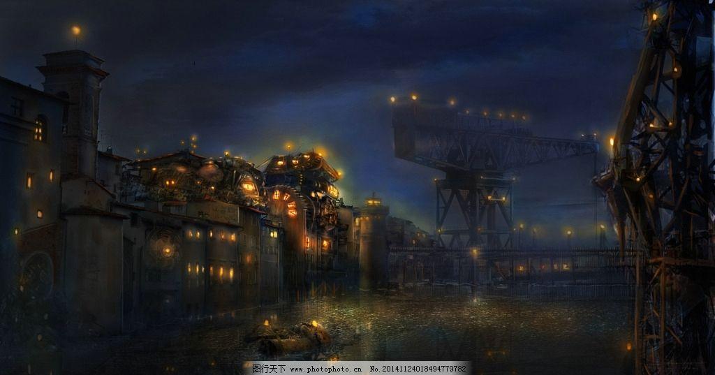 夜晚 机械 灯光 黑夜 城市 唯美 设计 动漫动画 风景漫画 72dpi jpg