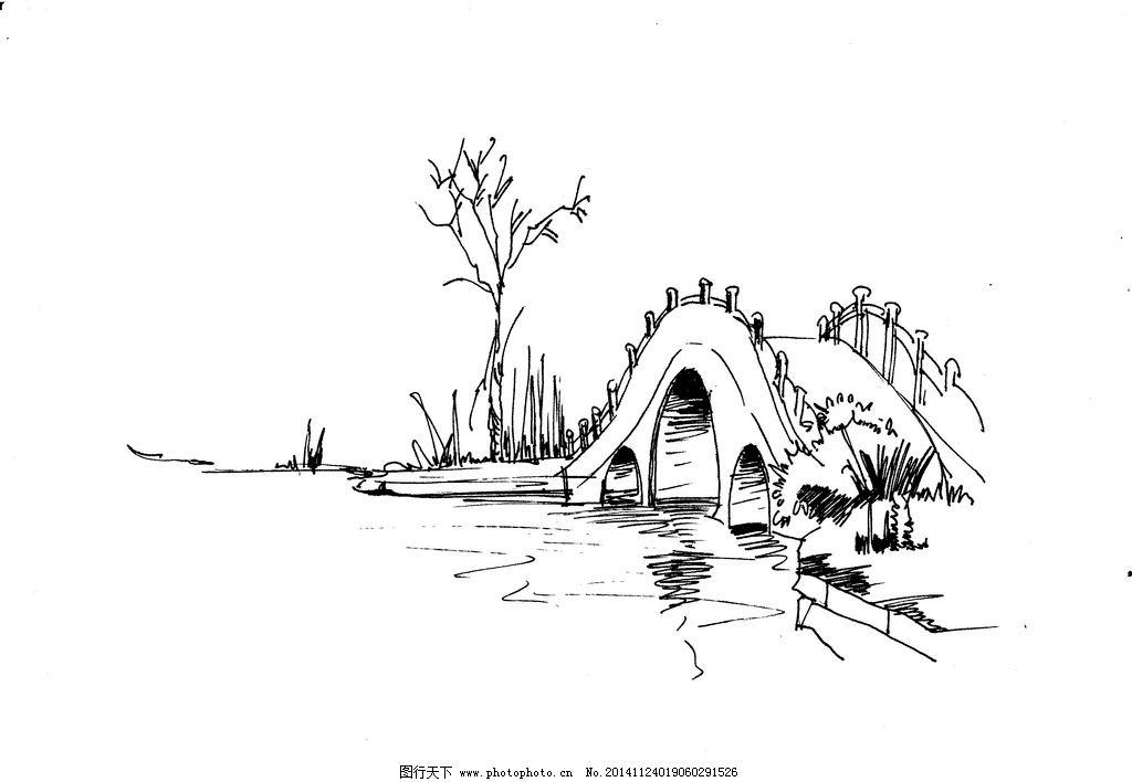 桥手绘线稿图片