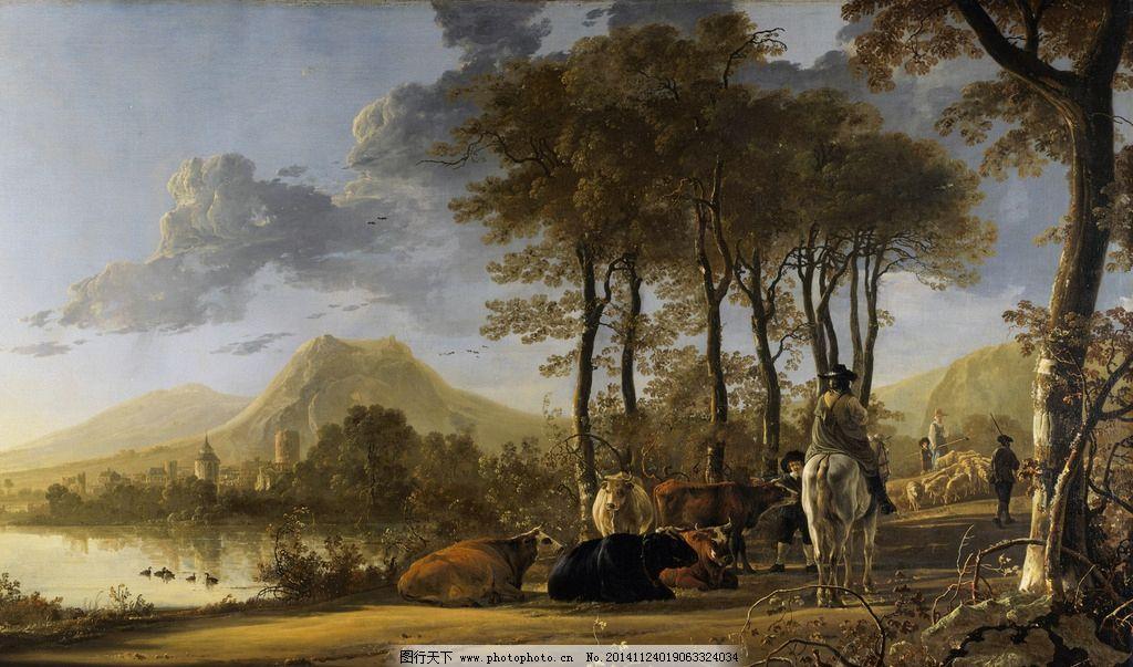 风景油画 写生 外国油画 绘画 树林 草地