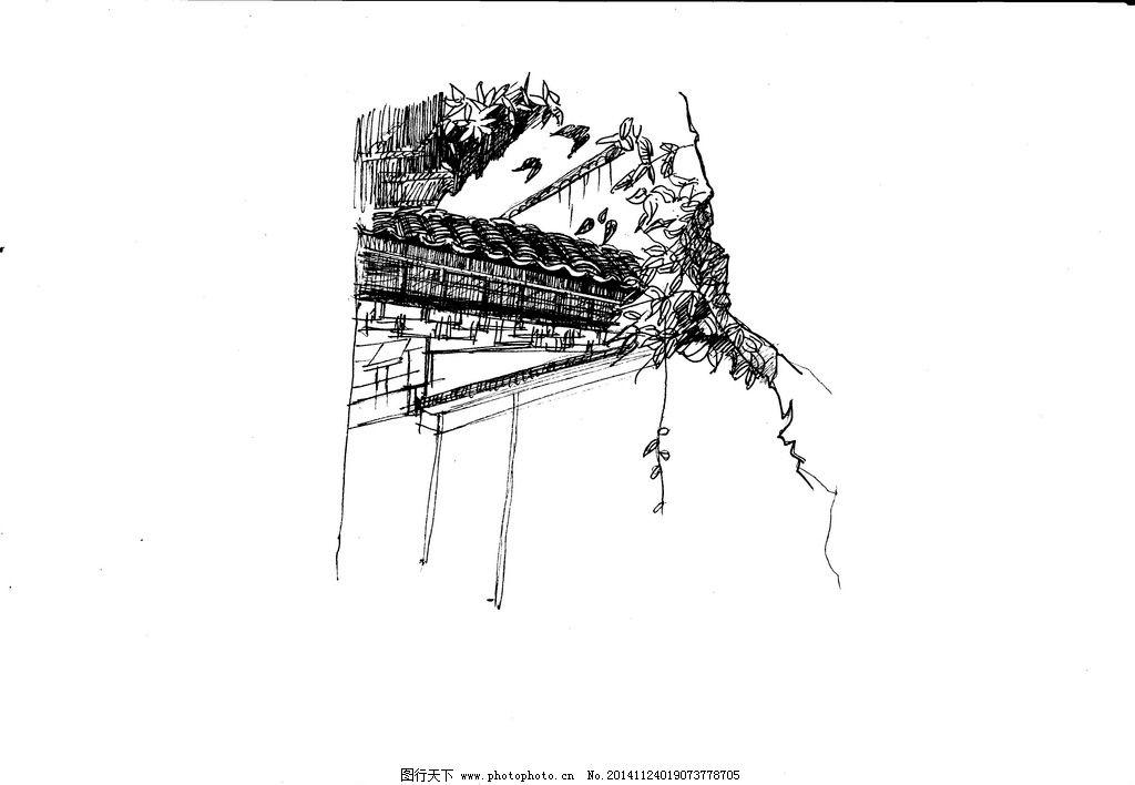 墙瓦手绘线稿 黑白 景观