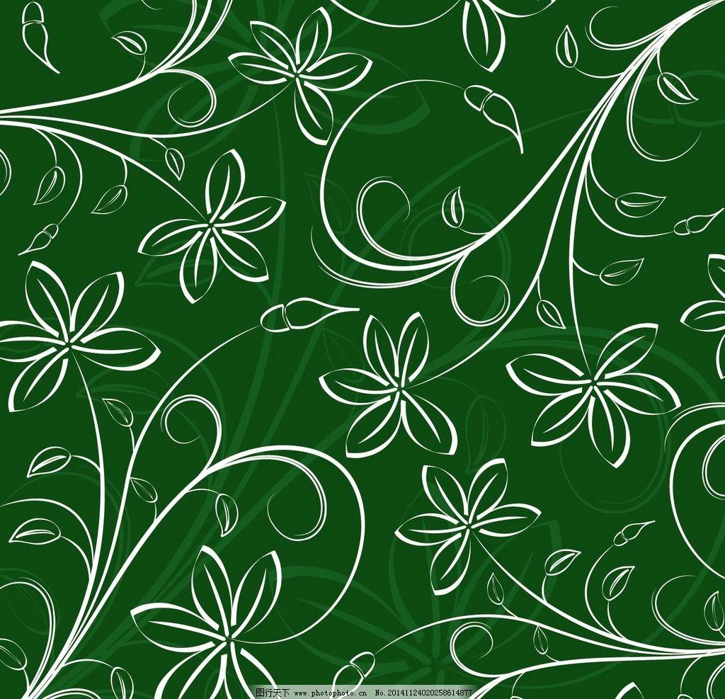 深绿色花草矢量素材图片,欧式花纹 欧式古典背景 欧式
