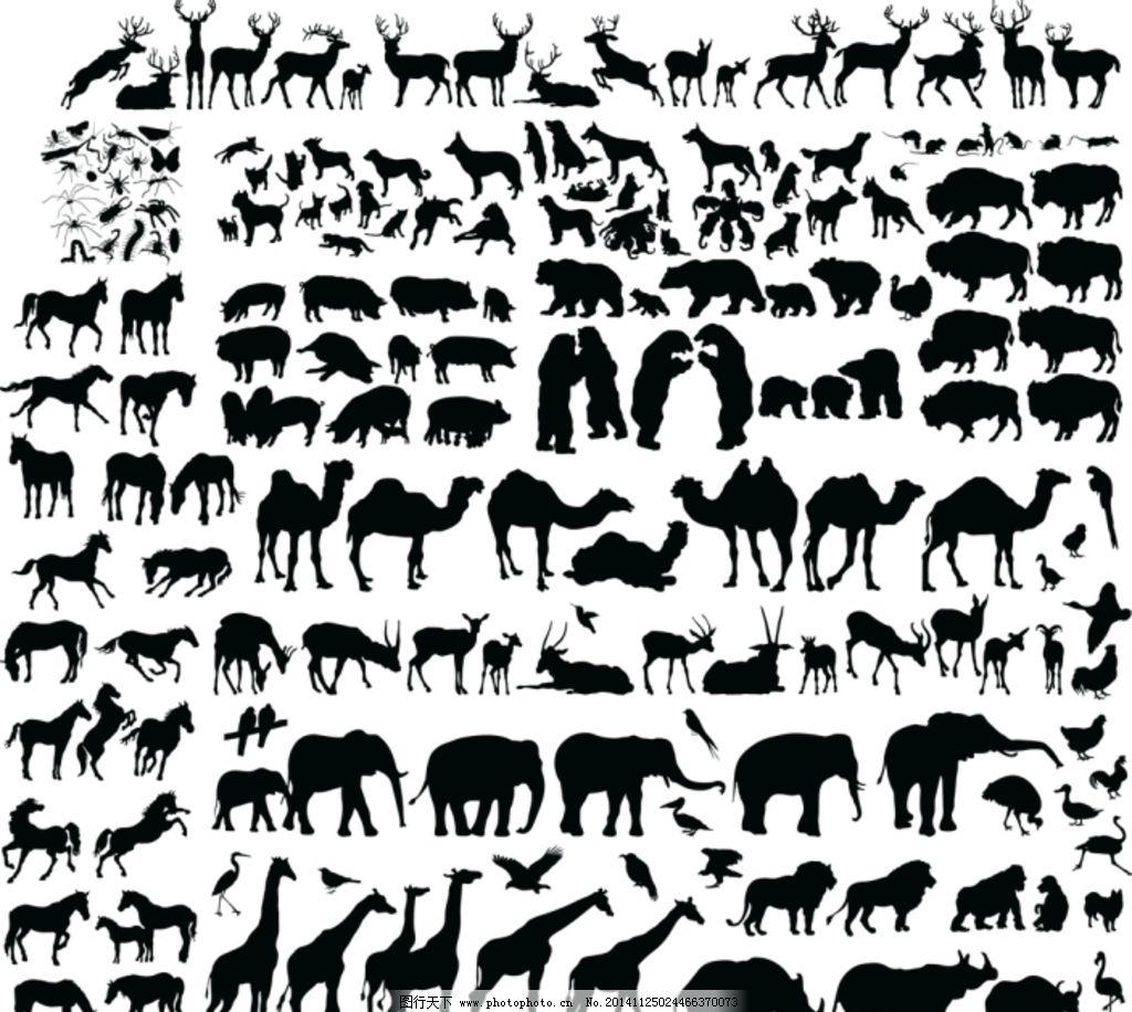 野生动物剪影 矢量图片