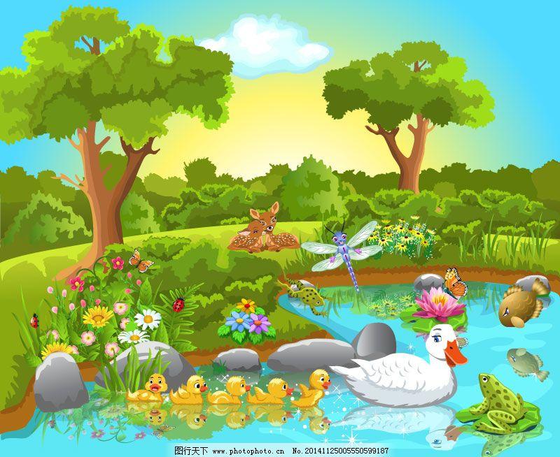 卡通森林动物插画矢量素