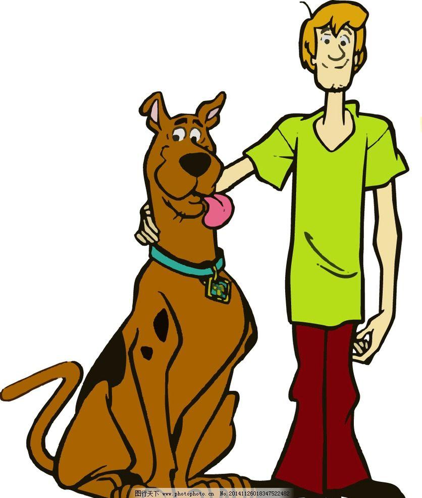 卡通男孩儿和大狗图片