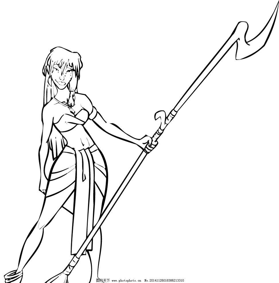 素描 铅笔画 女战士图片