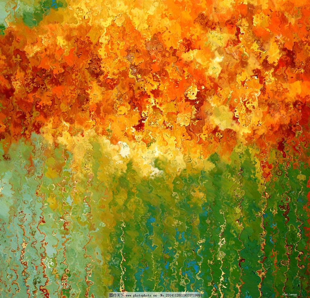 抽象风景油画图片_绘画书法