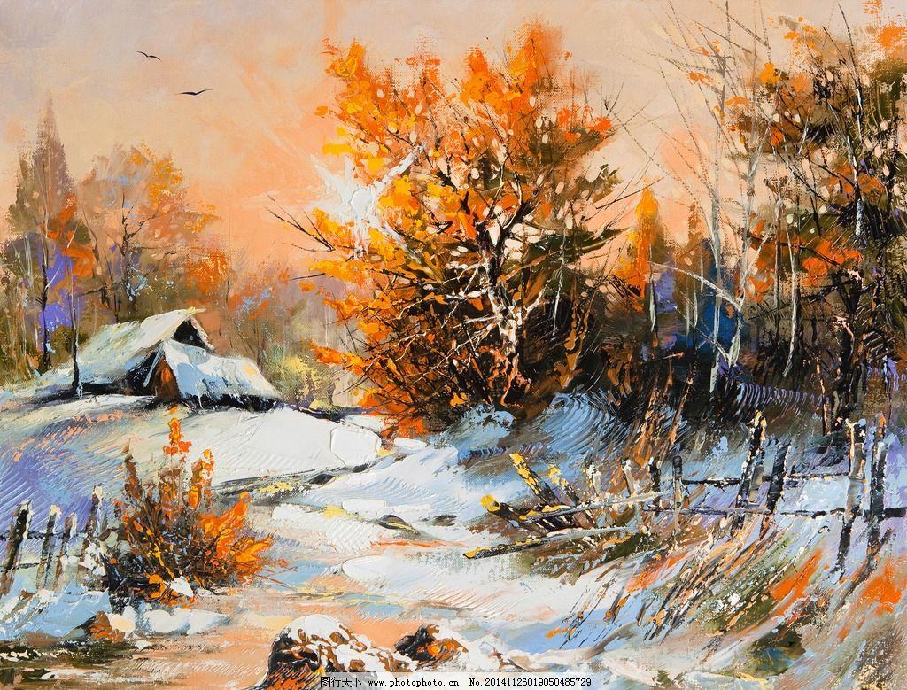 雪山树木风景油画图片