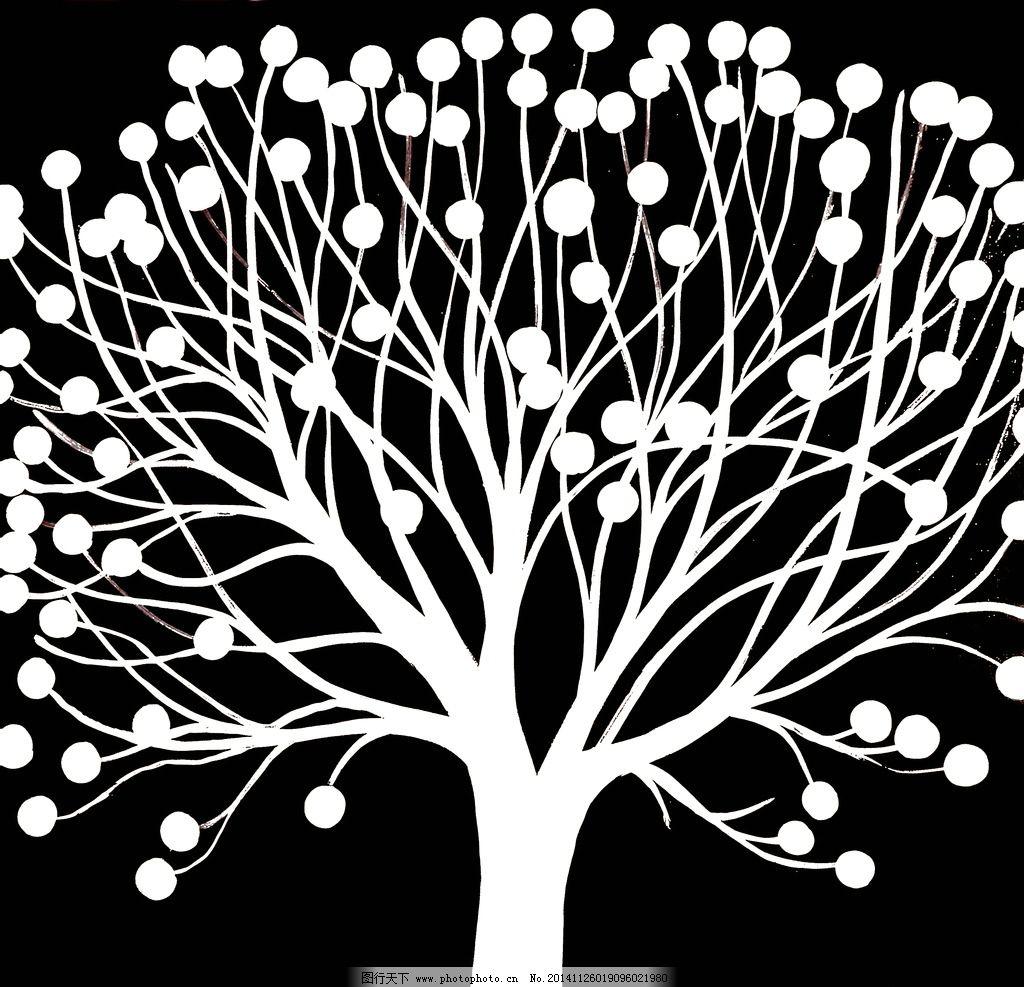 黑白大树油画 装饰画 壁画 插画 油画专辑 文化艺术 绘画书法