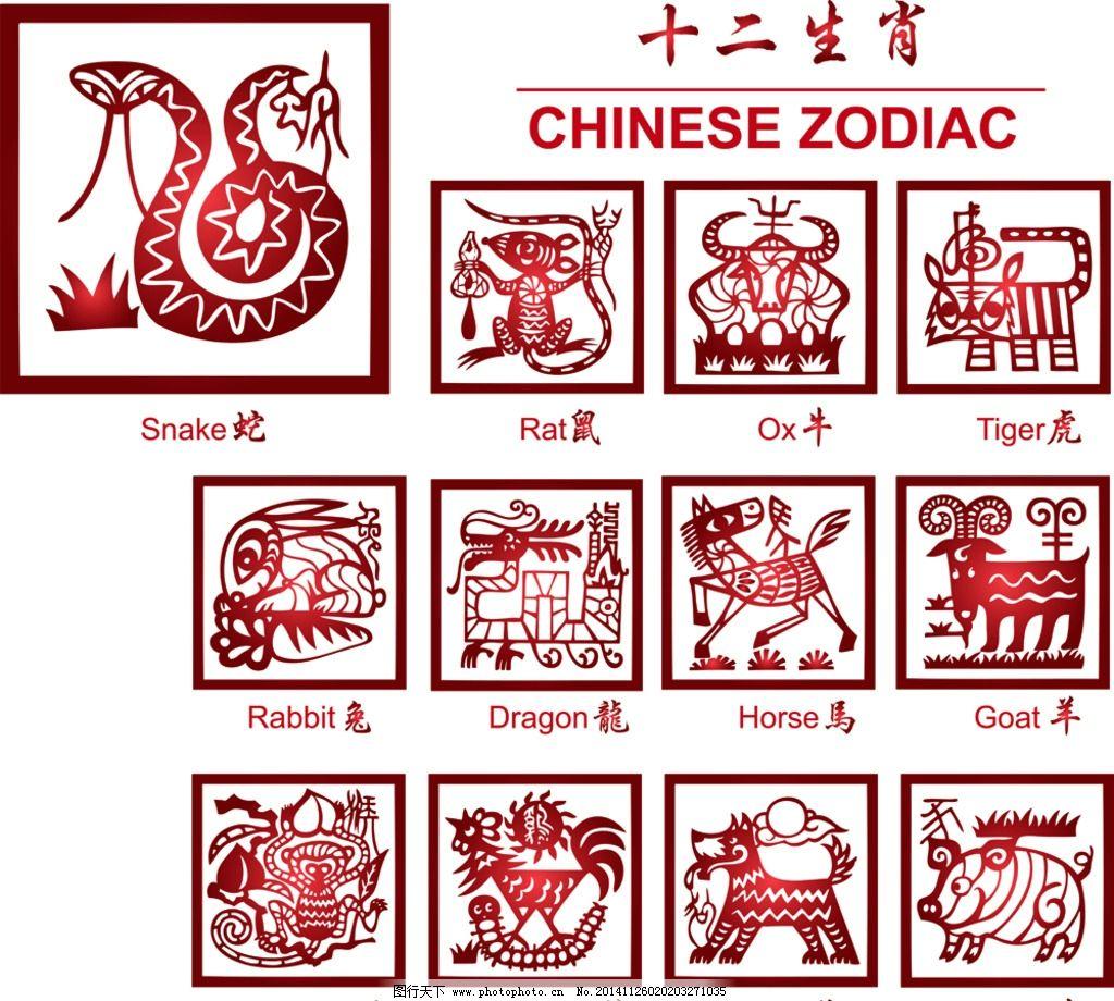 12生肖 剪纸 中国年 十二生肖 子鼠 丑牛 鼠 牛 虎 兔 龙 蛇 马 羊