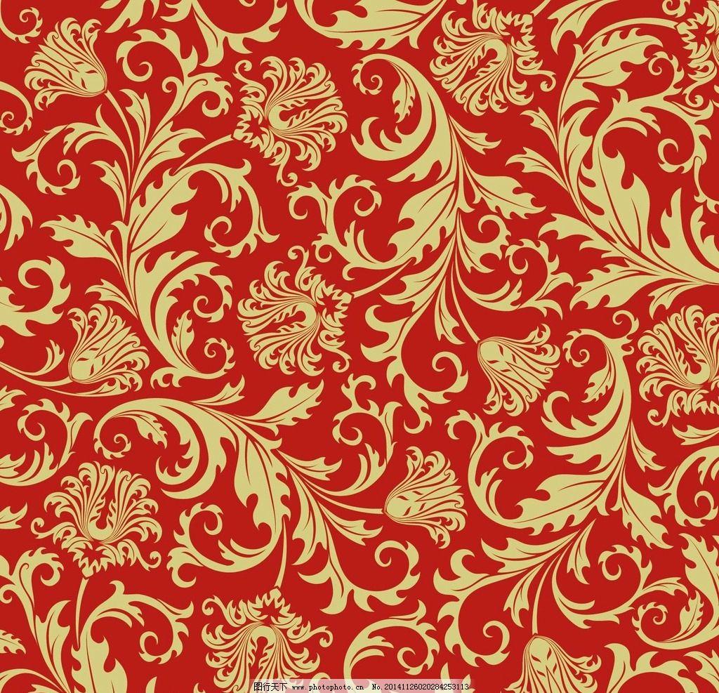 大红色花纹底纹背景矢图片