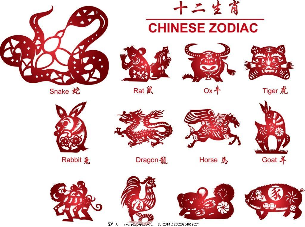12生肖 剪纸 中国年 十二生肖 子鼠 丑牛 鼠 牛 虎 兔 龙 蛇 马 羊 猴