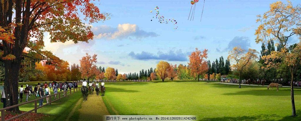 设计图库 环境设计 景观设计  室外景观 草地 草坪 牧场 气球 度假