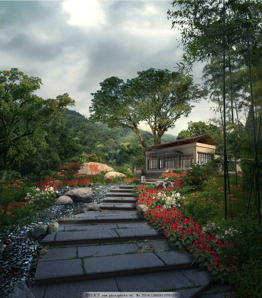山间建筑效果图图片,室外景观 山脉 羊肠小道 寺庙-图