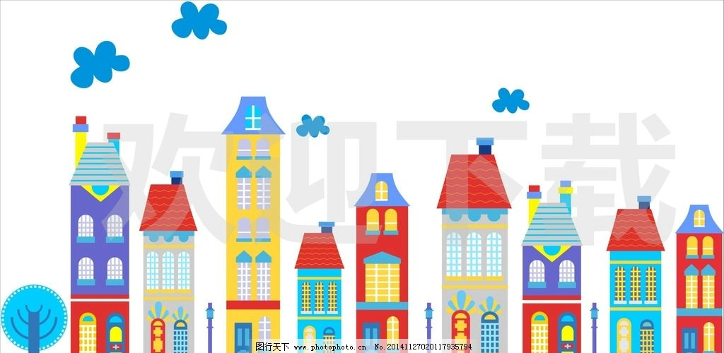 卡通 房屋 楼房 房子 彩色房子 卡通房屋 住宅 建筑 卡通背景 背景墙