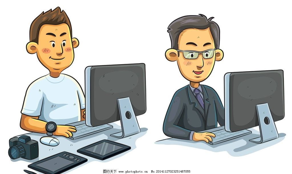 上班族 商务人物 白领 手绘人物 团队合作 商业插图 矢量