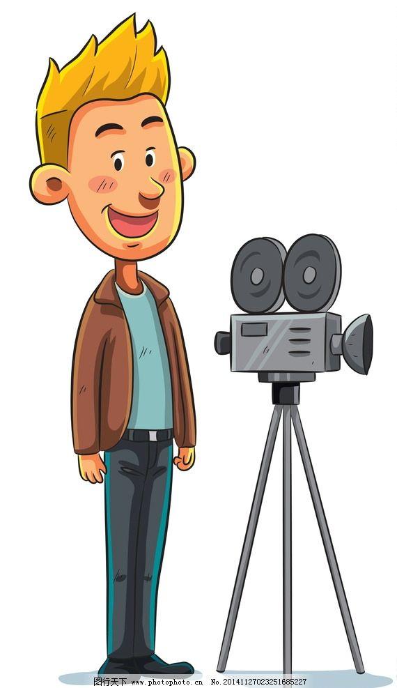 摄像师 手绘卡通人物 上班族 商务人物 白领 商业插图 职业人物 设计