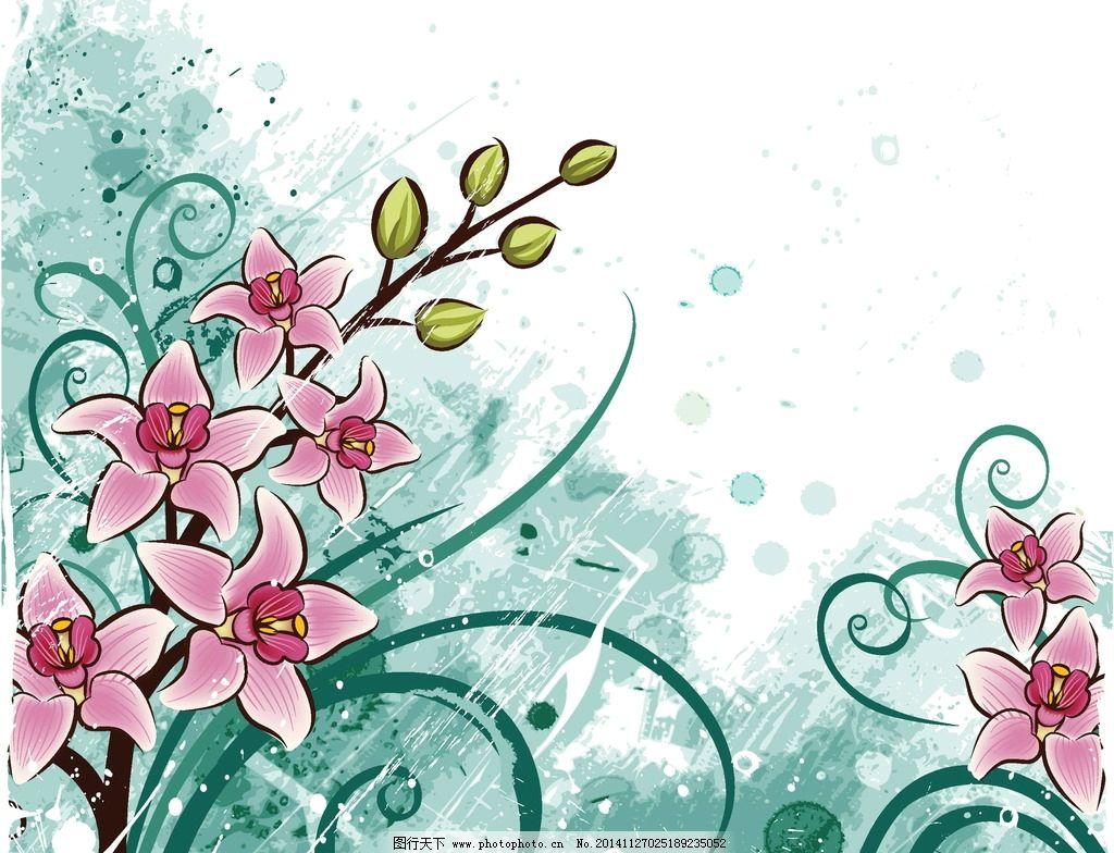 手绘花卉 花朵 绿叶 鲜花 兰花 蝴蝶兰 花卉插图 邀请卡 贺卡背景