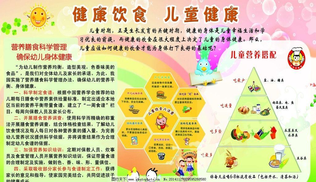 健康知识宣传栏 健康饮食 儿童健康 卡通人物 营养搭配塔 气泡