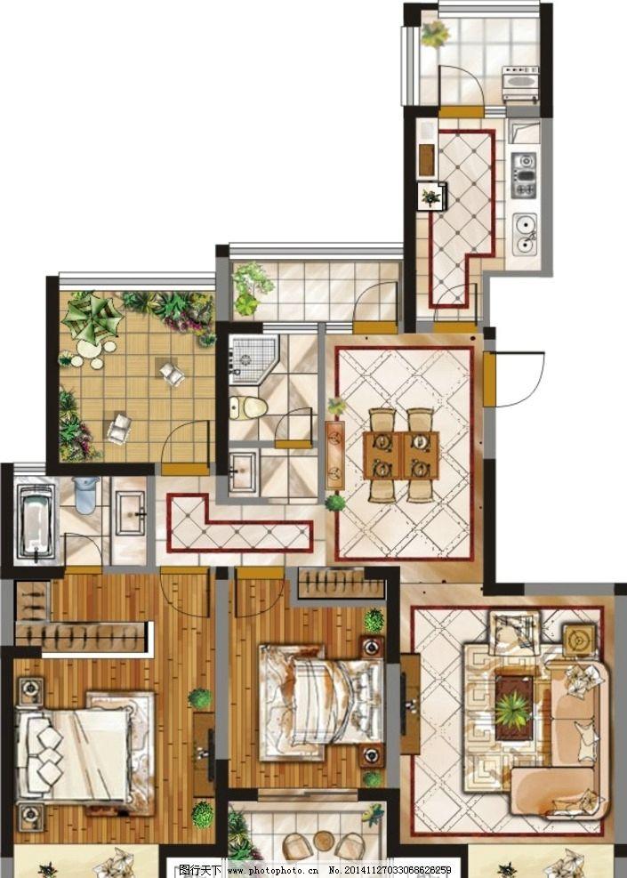 平面布置图 cdr 矢量 家装 室内设计 彩色平面图 建筑家居 3d贴图
