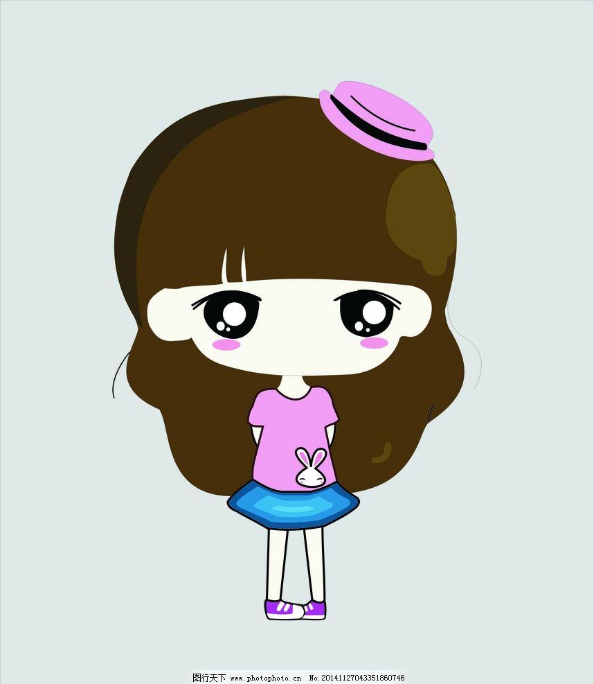 可爱 小女孩 卡通 漫画 人物 卡通人物 戴帽子 粉色 帽子 长头发 大