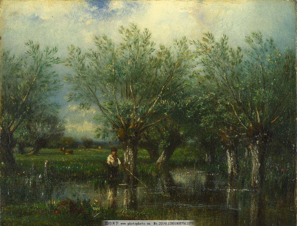 树木风景油画图片