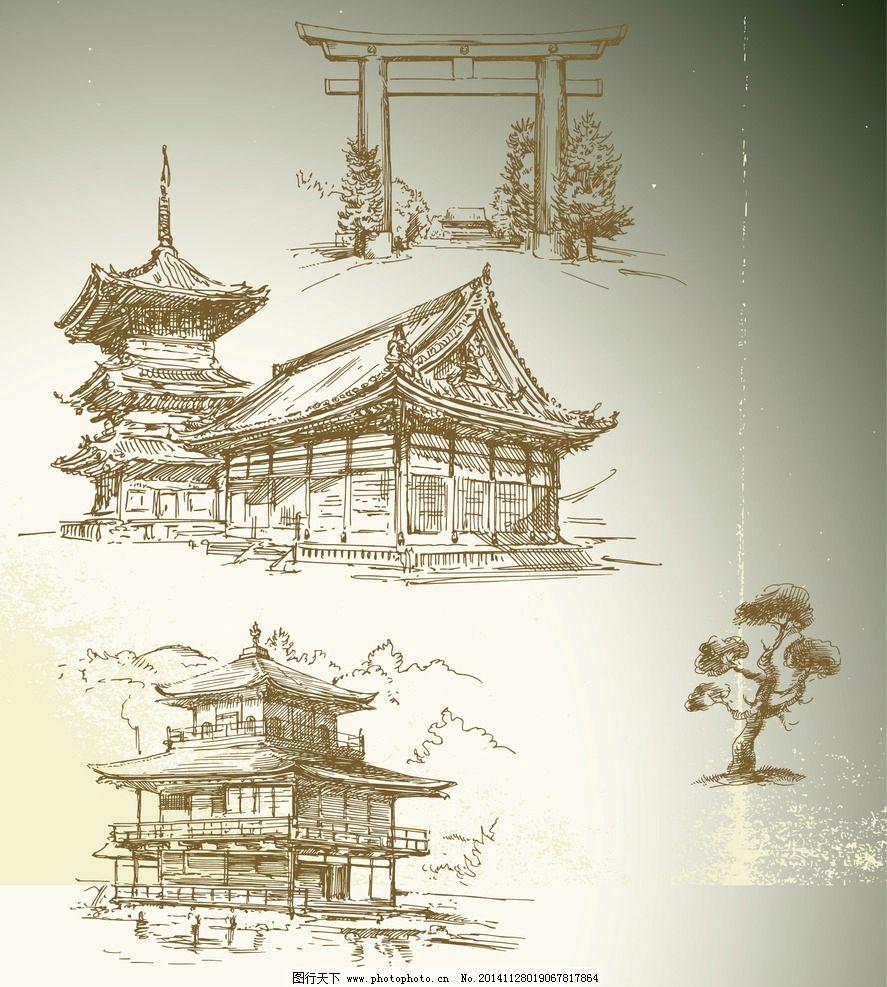 手绘古代建筑 松树 古楼图片