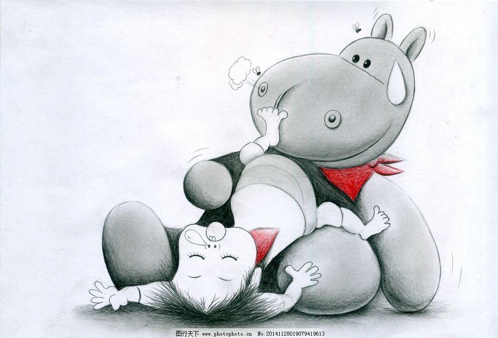 素描 小女孩 小卡通 小熊可爱