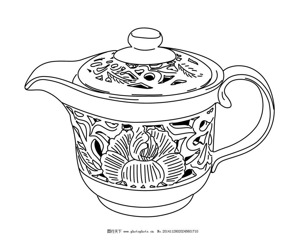 手绘中式茶具线稿