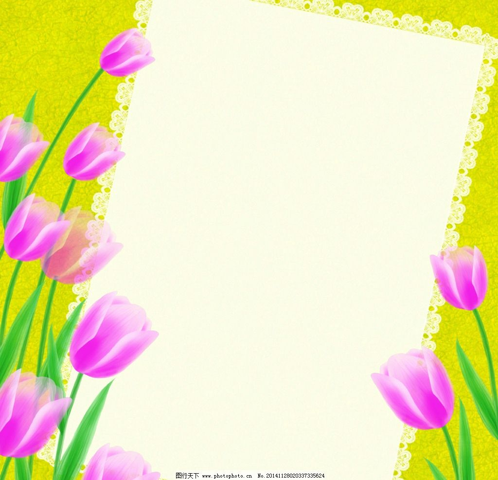 手绘郁金香画框背景图片