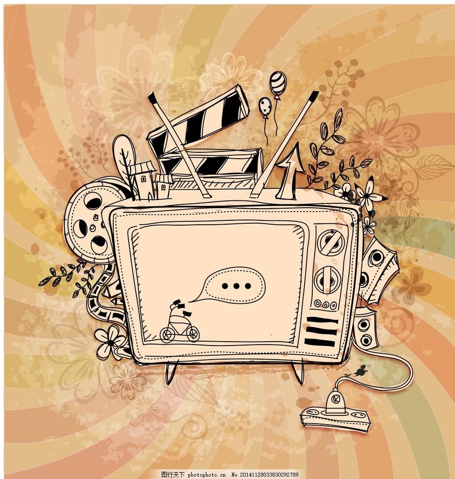 复古风卡通电视机插画