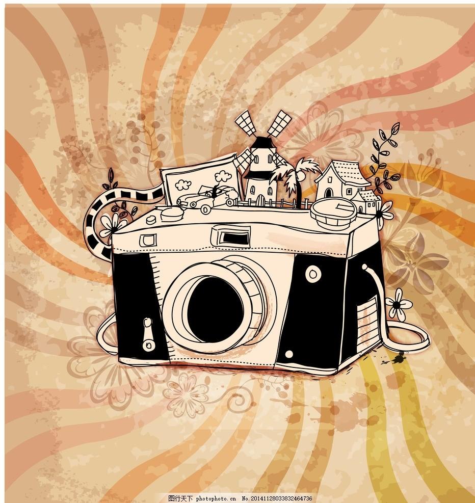 复古风卡通相机插画 卡通照相机 复古相机 复古风格 复古插画 复古
