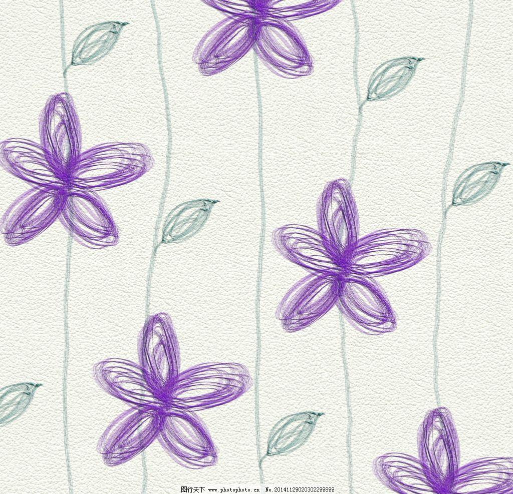 手绘线性五瓣花背景图片