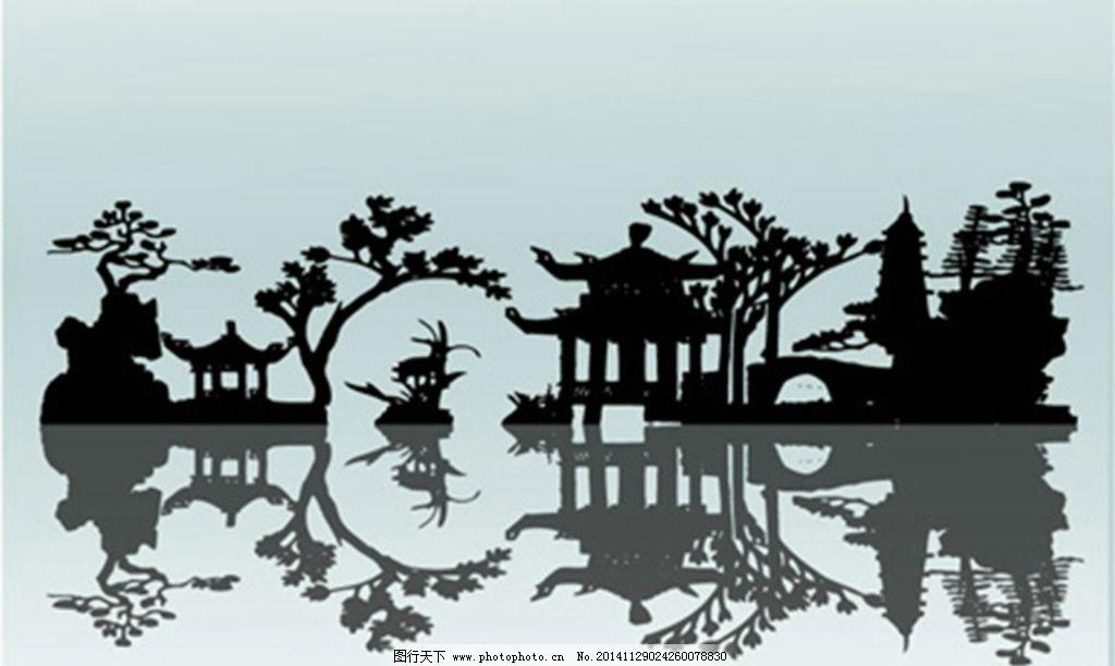 黑白木刻版画山水风景