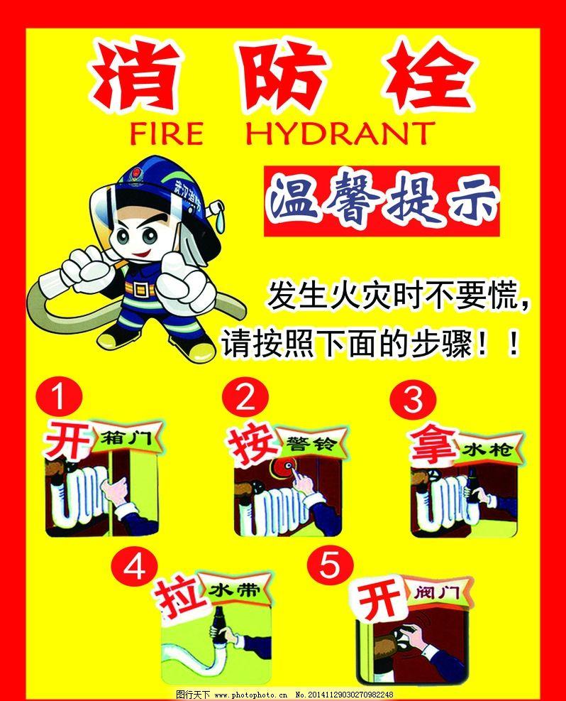 消防栓 使用方法 消防栓步骤 展板 消防栓模板 安全标志 温馨提示