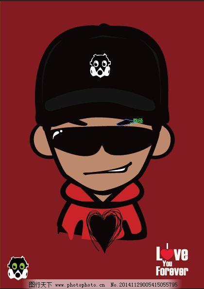 矢量图 戴墨镜 脸萌 卡通人物 矢量图 脸萌卡通人物 ai 红色 黑色帽子