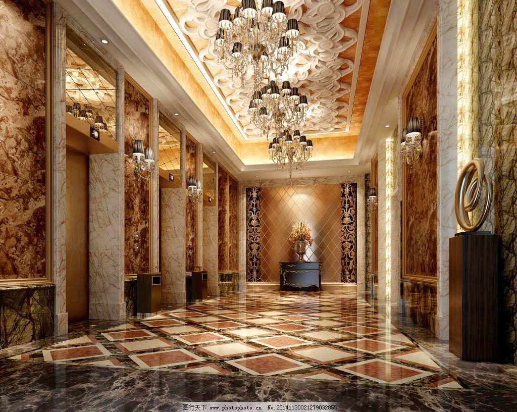 豪华电梯间免费下载 豪华 欧式 电梯厅 豪华 欧式 3d模型素材 室内图片