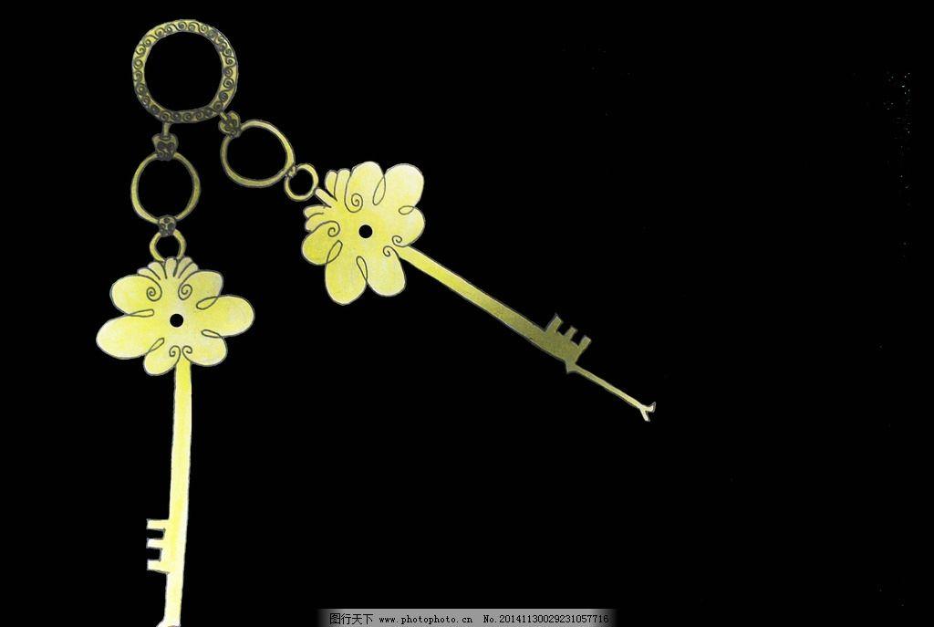 手绘 钥匙 黑暗 金色 唯美