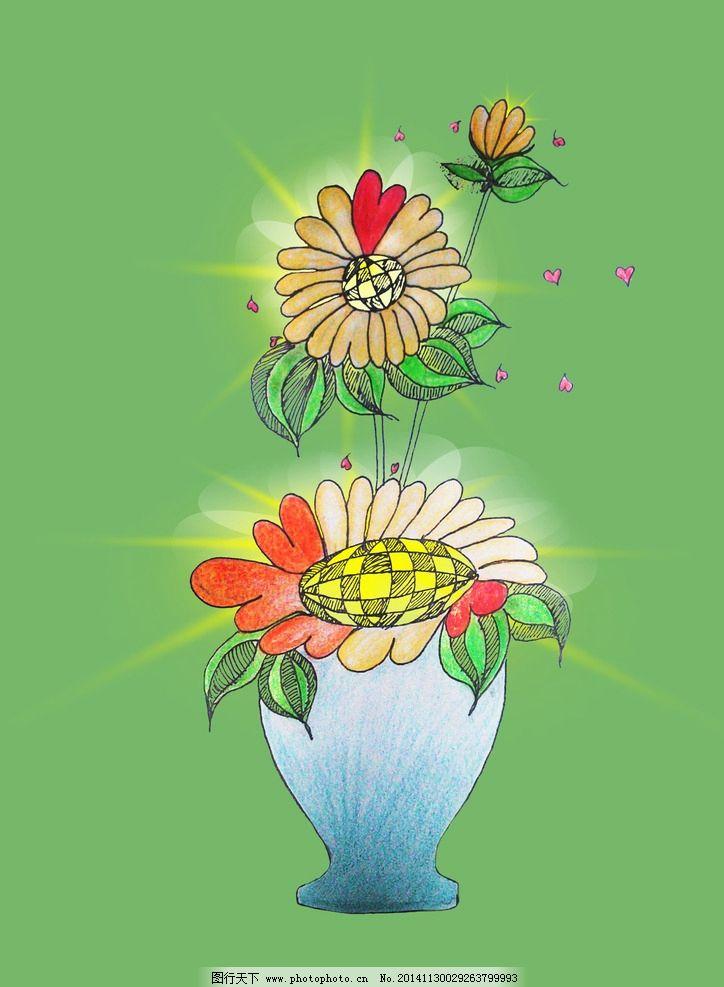 手绘 向日葵 插画 唯美 爱心 青春 植物 绿色 设计 广告设计 招贴设计