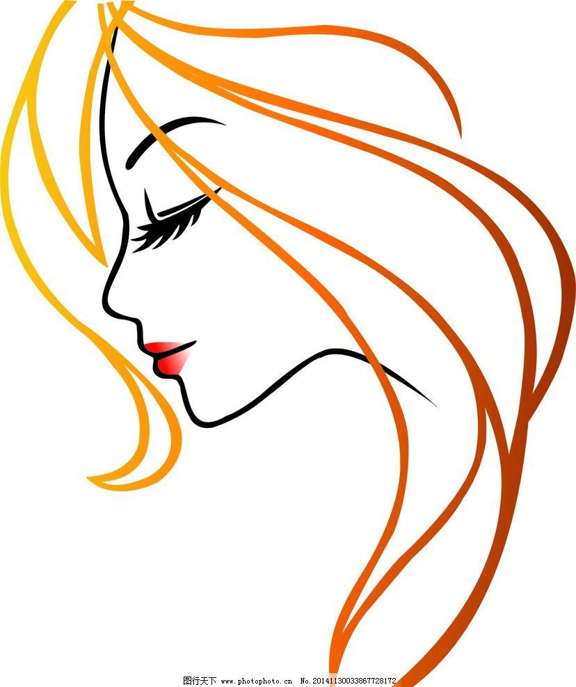 线条美女 矢量图 长发美女 其他 图片素材