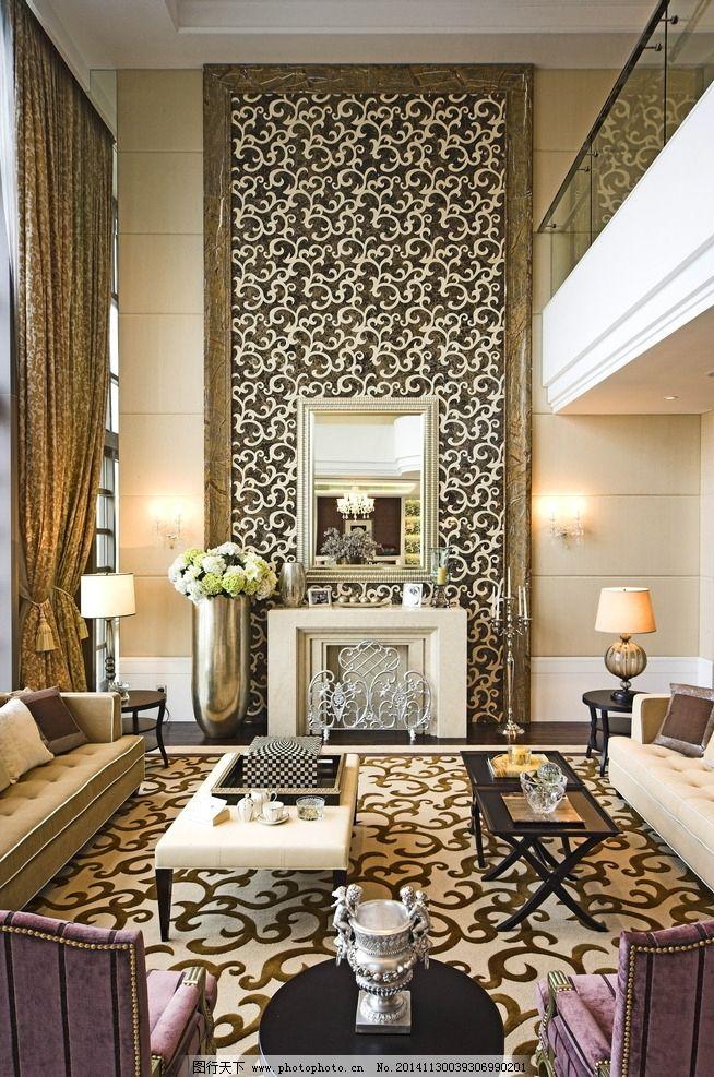 欧式别墅客厅 两层中空客厅 高档大气客厅 高档大气餐厅 暖色调客厅