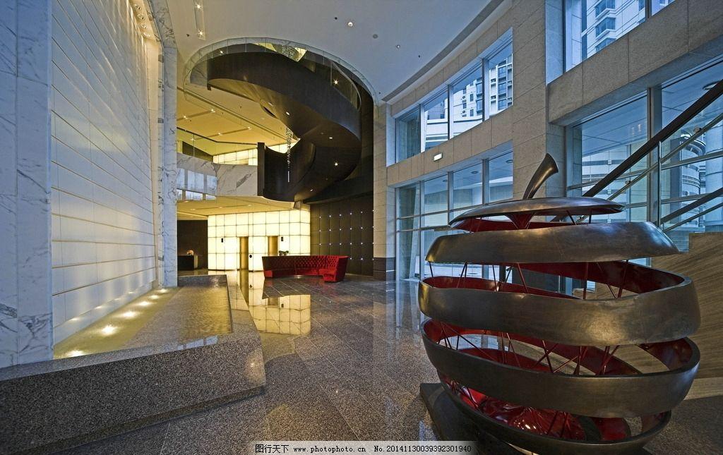 现代风格大堂 酒店大堂 旋转楼梯 大堂背景墙 简约酒店大堂 摄影 建筑
