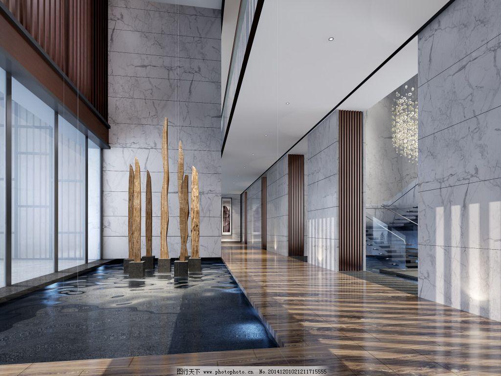 公司大堂 公司大堂免费下载 模型 水景 现代 室内装饰模型