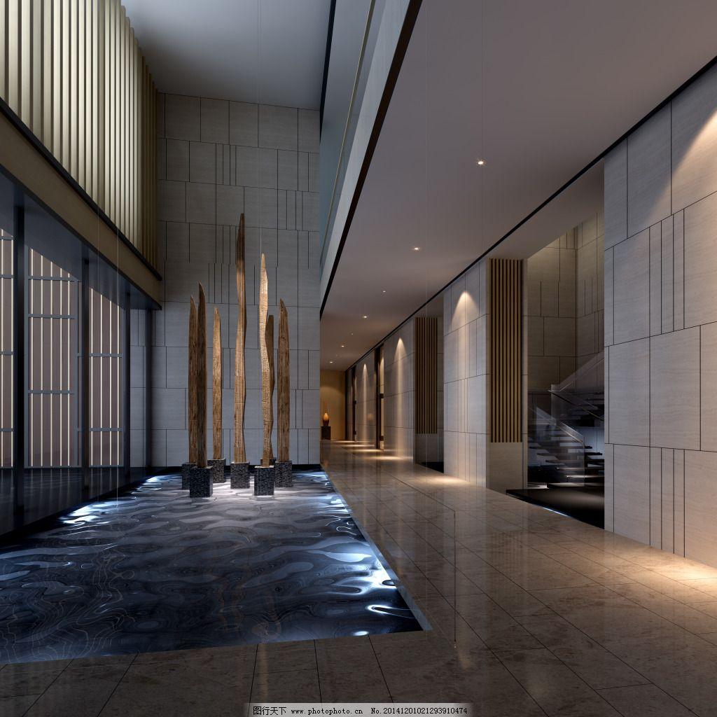 水景大厅 水景大厅免费下载 模型 室内装饰模型