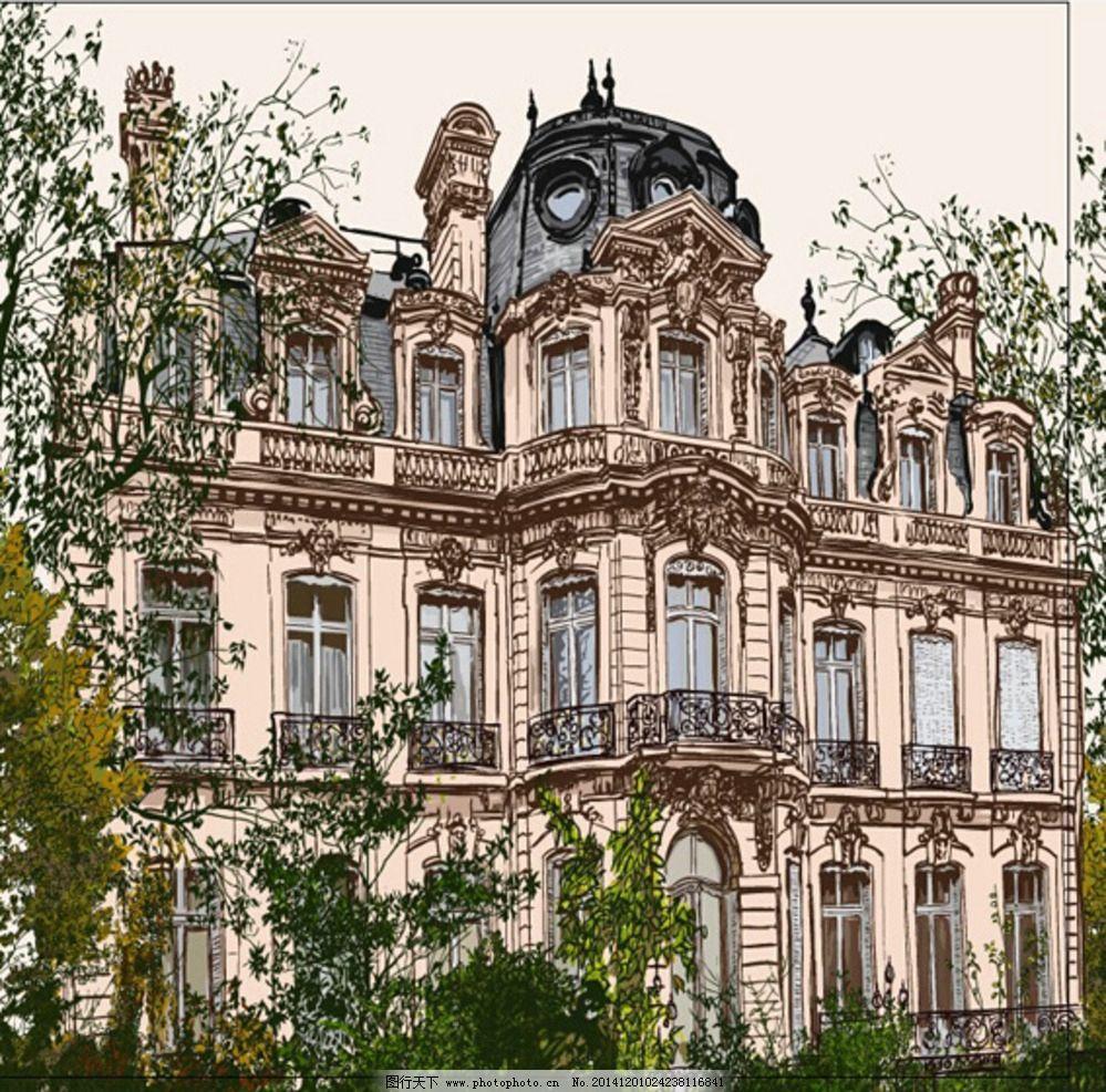 欧式建筑 建筑 树 植物类