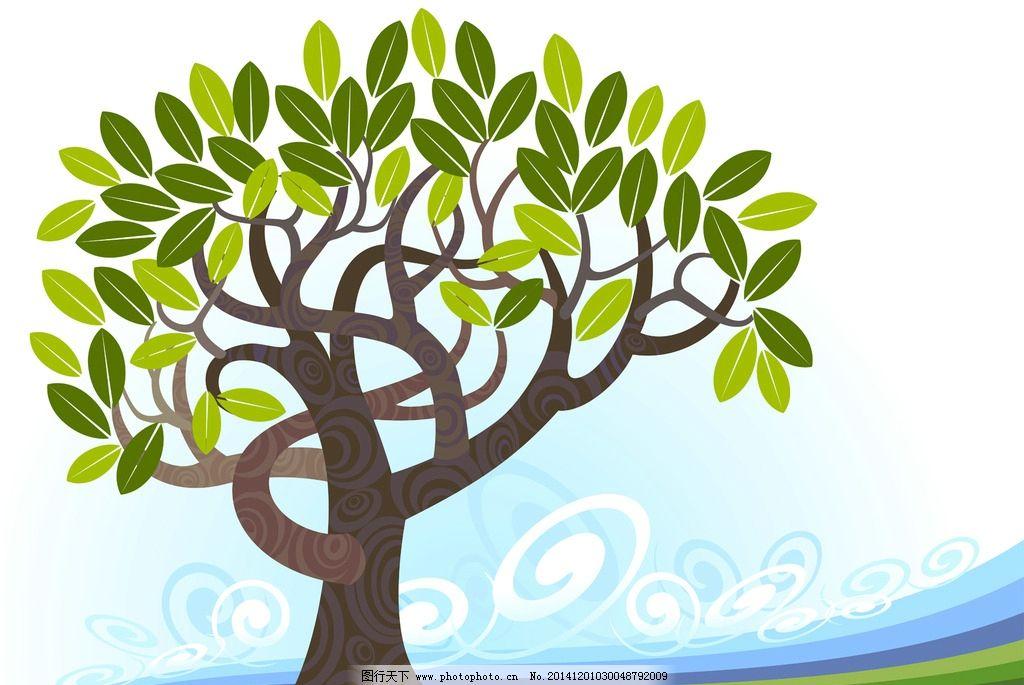 树 矢量 扁平化 梧桐树 潮流 色彩 卡通  设计 广告设计 海报设计