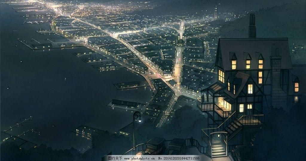 夜色 手绘 城市 夜景 印象 设计 动漫动画 风景漫画 72dpi jpeg