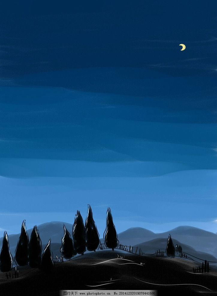 手绘笔触高清夜晚剪影风景插画图片
