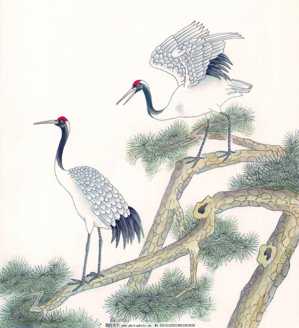 国画艺术松鹤图免费下载 动物 国画 鹤 绘画 鸟 树枝 水墨 松树 文化