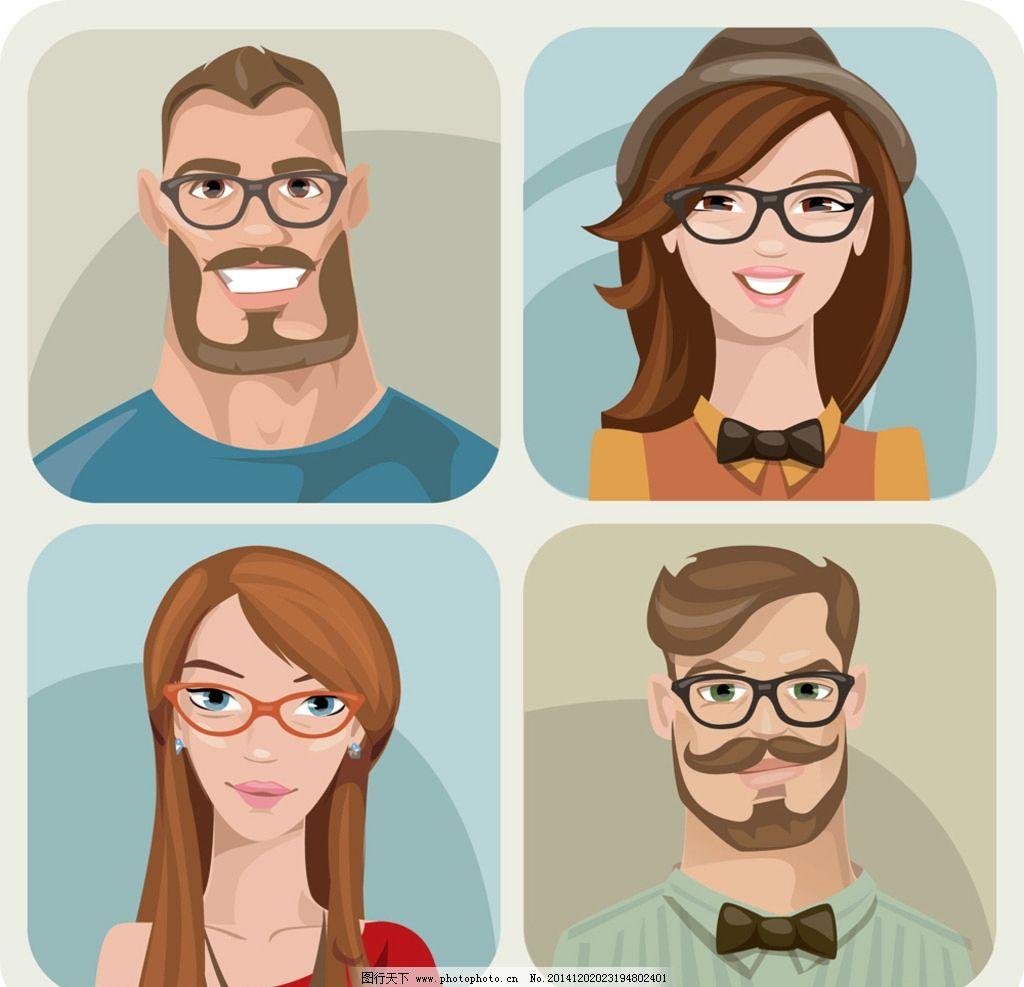 卡通人物头像 手绘 男人 女人 型男 帅哥 少女 美女 动漫角色 动漫